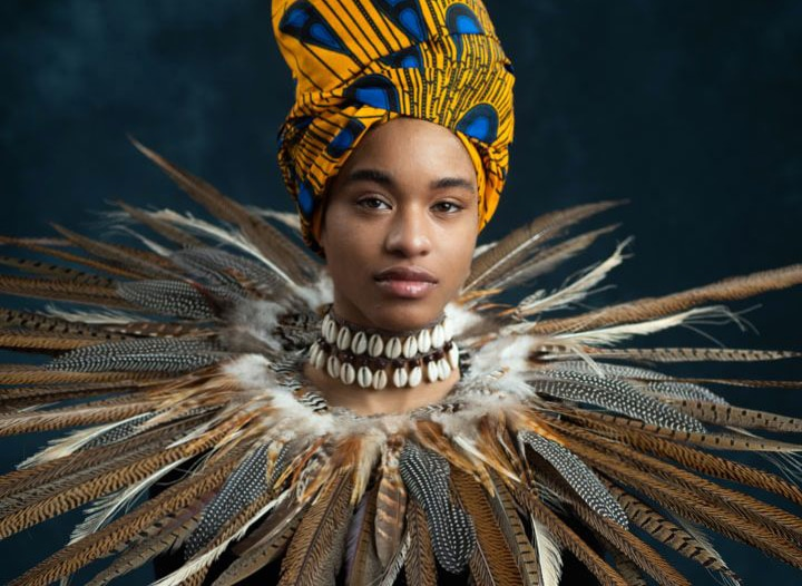 African woman traditional costume portrait